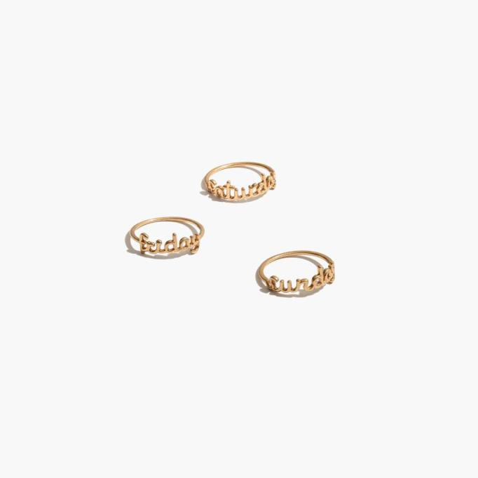 Stackable Rings To Stock Up On: Friday Saturday Sunday Stacking Ring Set | Summer Fashion 2017
