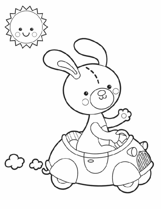 Bunny in a car coloring page