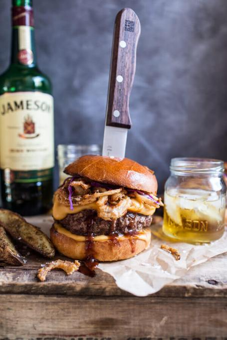 Unconventional cheeseburger recipes: Jameson whiskey blue cheese burger