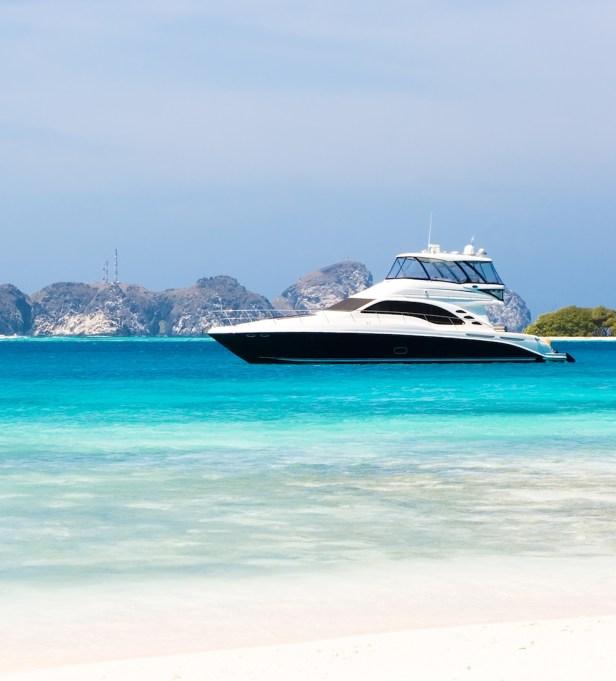 Luxury yacht at the beach