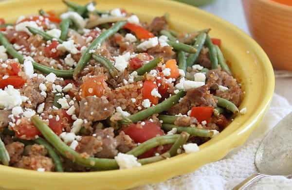 Quinoa, green bean & sausage bake