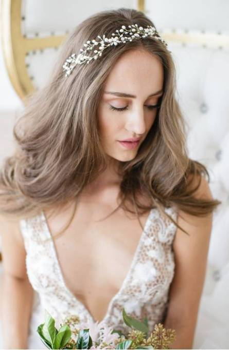 Ethereal Bridal Hair Accessories | Arabella Jeweled Halo and Sash