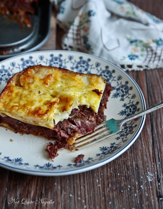 Beef Cheek Lasagna with Scalloped Potato Crust