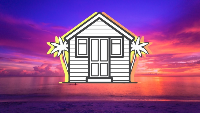 Timeshare beach house at dusk