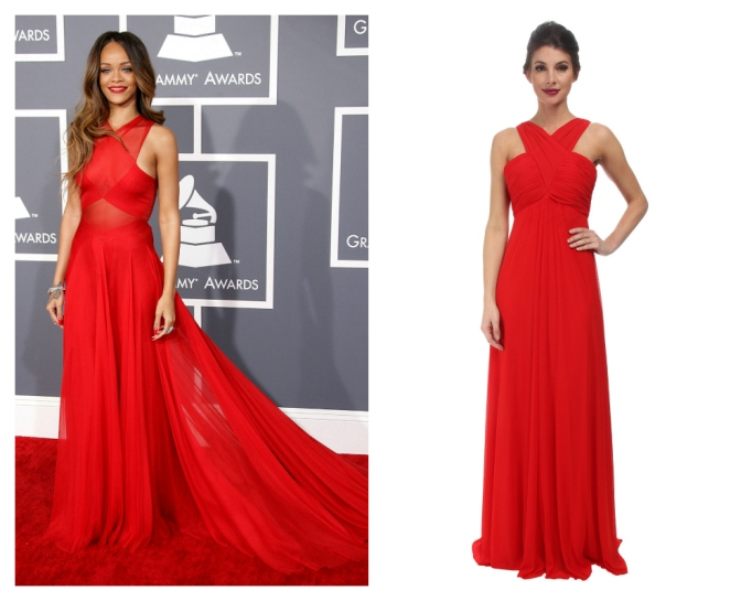 rihanna in red holiday dress