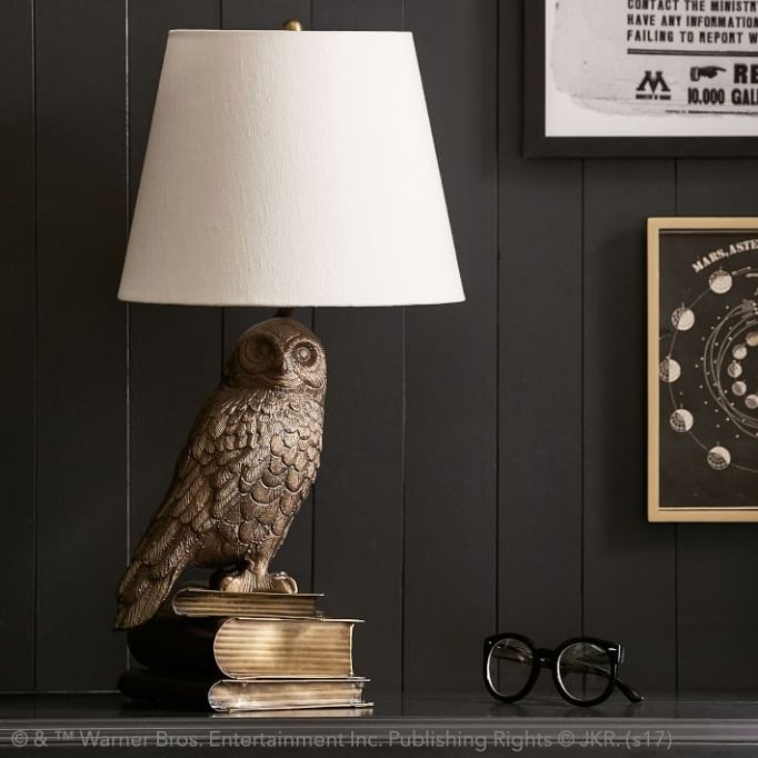 PB Teen Harry Potter Collection: A Hedwig lamp adds warm light to your room