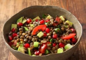 Lentils with Pomegranate and Peppers
