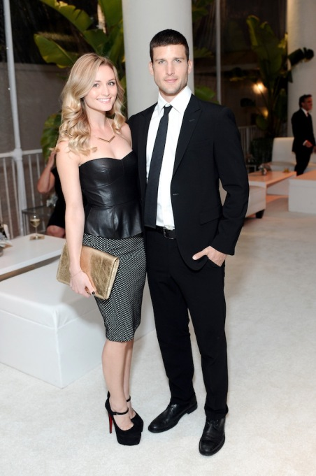 Stephanie Weber and actor Parker Young attend the 16th Costume Designers Guild Awards with presenting sponsor Lacoste at The Beverly Hilton Hotel