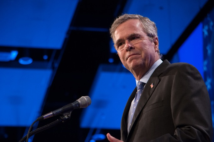 Jeb Bush speaking at the Lincoln Dinner in Des Moines, Iowa, in May 2015.