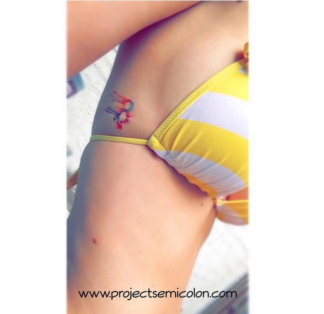 Tie-dye semicolon tattoo
