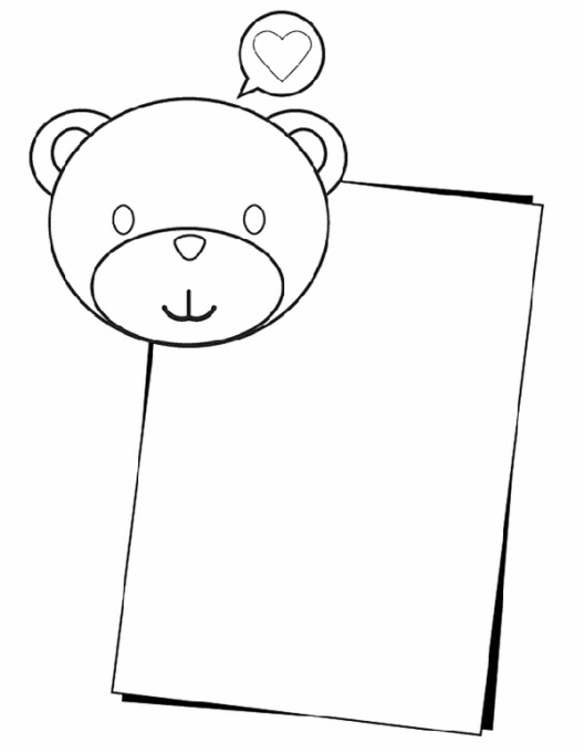 Valentine's Day Coloring Pages: Bear note