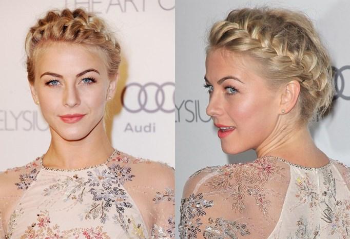 Best Celebrity French Braids: Julianne Hough's French Halo Braid | Celeb Hairstyles 2017
