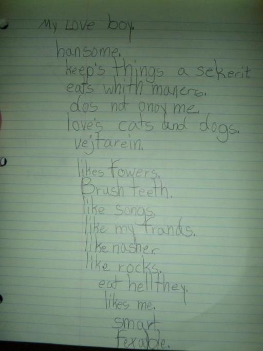 funny kid spelling test mistake