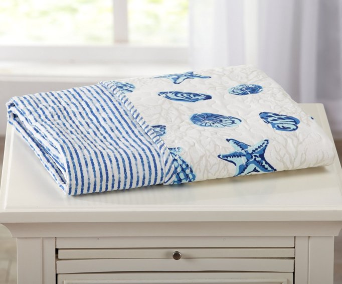 Juliana Coastal Reversible Printed Quilted Throw
