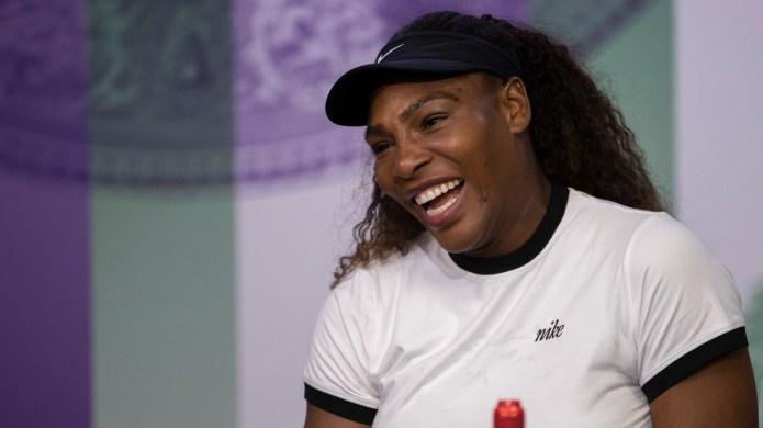 Serena Williams attends a press conference