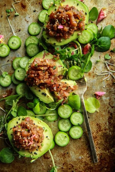 Avocado recipes that don't involve toast: spicy tuna poke stuffed avocado