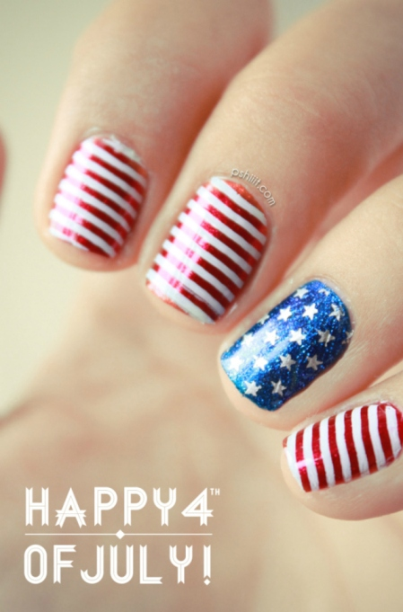 Red and white striped nail design
