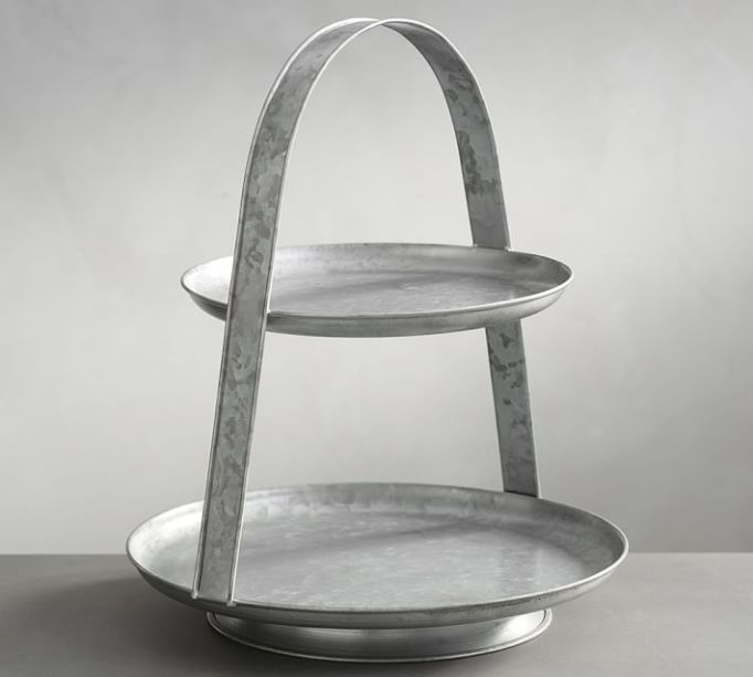 Galvanized Metal Two Tiered Stand