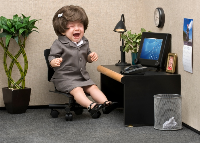 Baby dressed in professional office attire