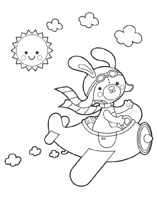 Bunny in an airplane coloring page