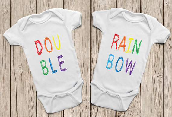 Double rainbow onesies