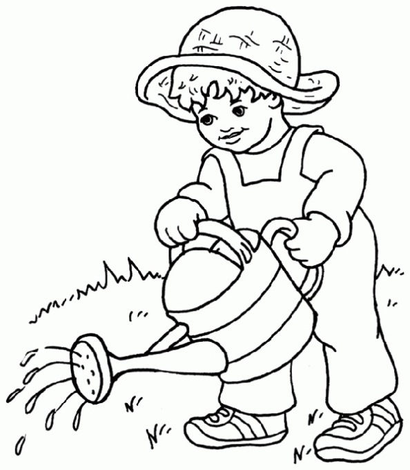 Watering plants coloring page