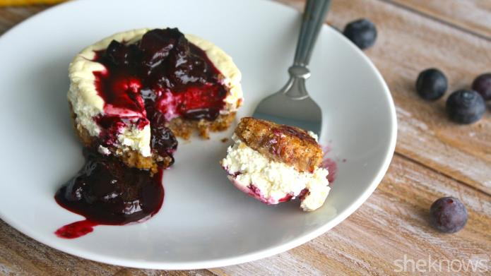 Gluten-free mini cheesecakes dripping with blueberry