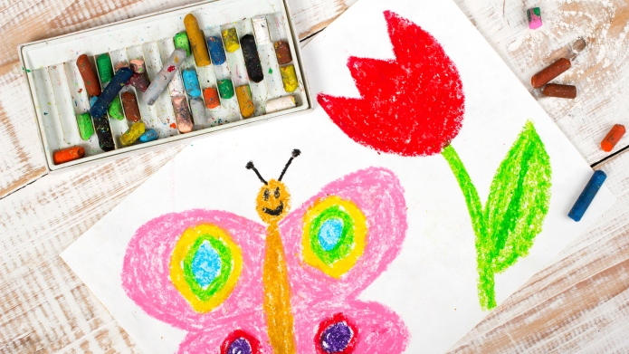 colorful drawing: happy butterfly and beautiful