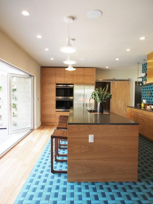 blue colorful tiled kitchen floor