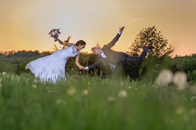 Goofy wedding photo