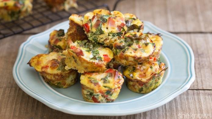 Cheesy ham quiche muffins are your