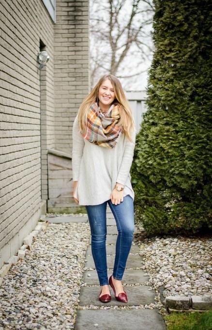 Ways to Wear an Infinity Scarf | Plaid Infinity Scarf with White Sweater