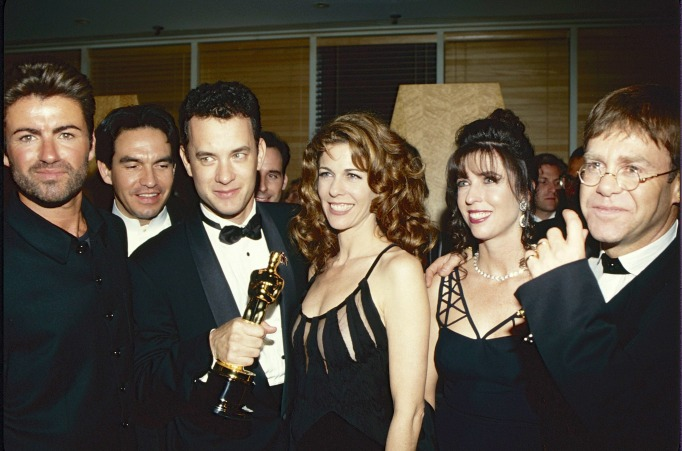 George Michael, Tom Hanks, Rita Wilson and Elton John at a 1994 Oscars after-party