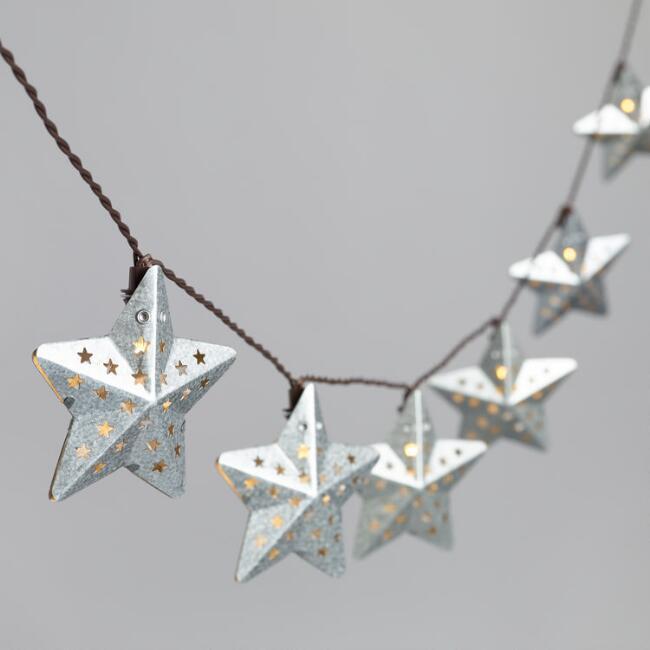 Pierced Metal Star Solar LED 30 Bulb String Lights