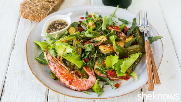 Grilled shrimp and roasted zucchini salad