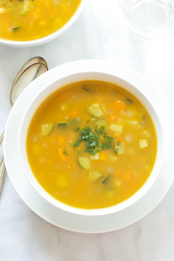 Yellow zucchini soup