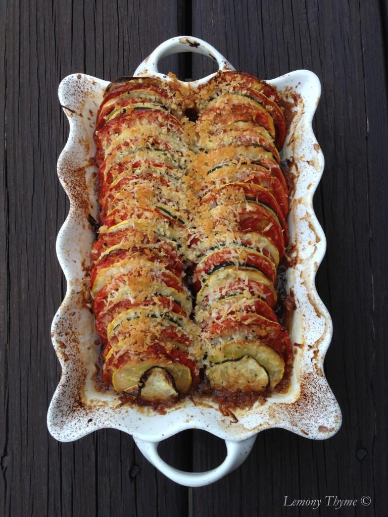 Zucchini, summer squash & tomato gratin