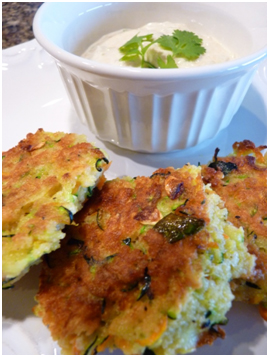 zucchini cakes with green chile sauce