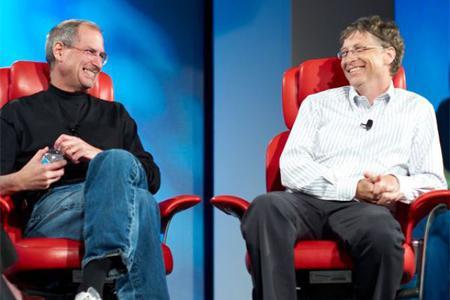 Steve Wozniak and Bill Gates react