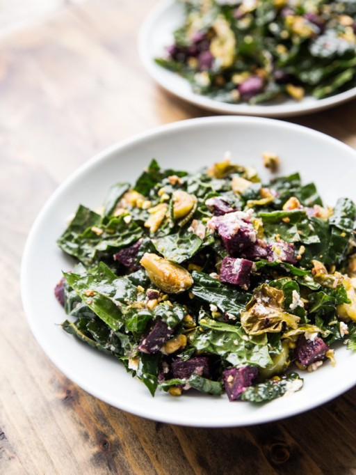 Yummy Winter Salads You'll Actually Crave   Roasted Sweet Potato, Brussels Sprouts and Kale Salad