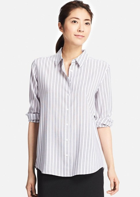 The Best Stores to Shop for Fashion Basics: Uniqlo Rayon Striped Long Sleeve Shirt | Summer style 2017