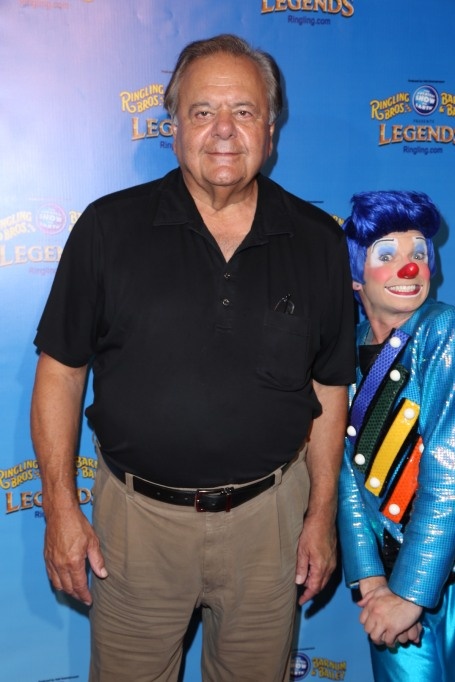 Paul Sorvino with a clown on the red carpet