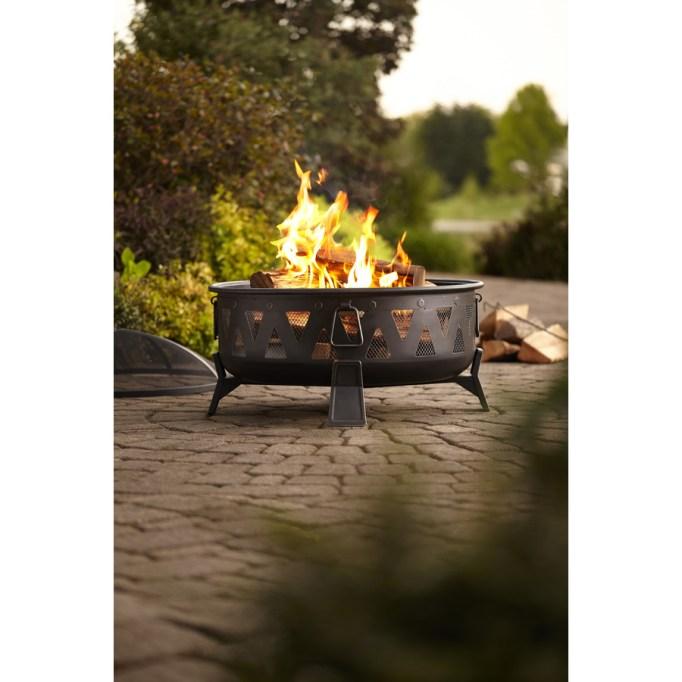 Antique Black Steel Wood-Burning Fire Pit
