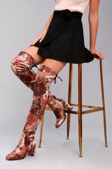 Best Pairs of Over-the-Knee Boots: Gillian Brown Print Velvet Over the Knee Boots | Fall and Winter Fashion 2017