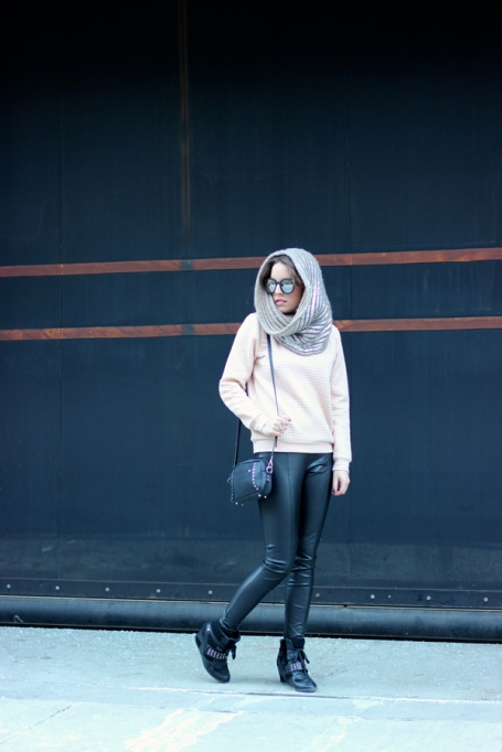 Ways to Wear an Infinity Scarf | Grey Knit Infinity Scarf with Faux Leather Leggings