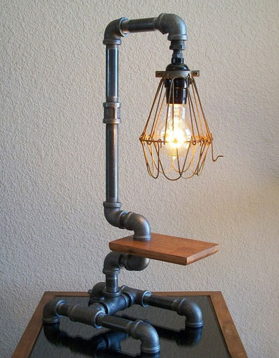 Art desk table pipe lamp