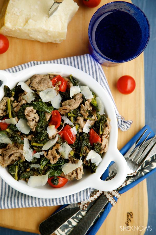 Kale & beef sauté with Parmesan recipe