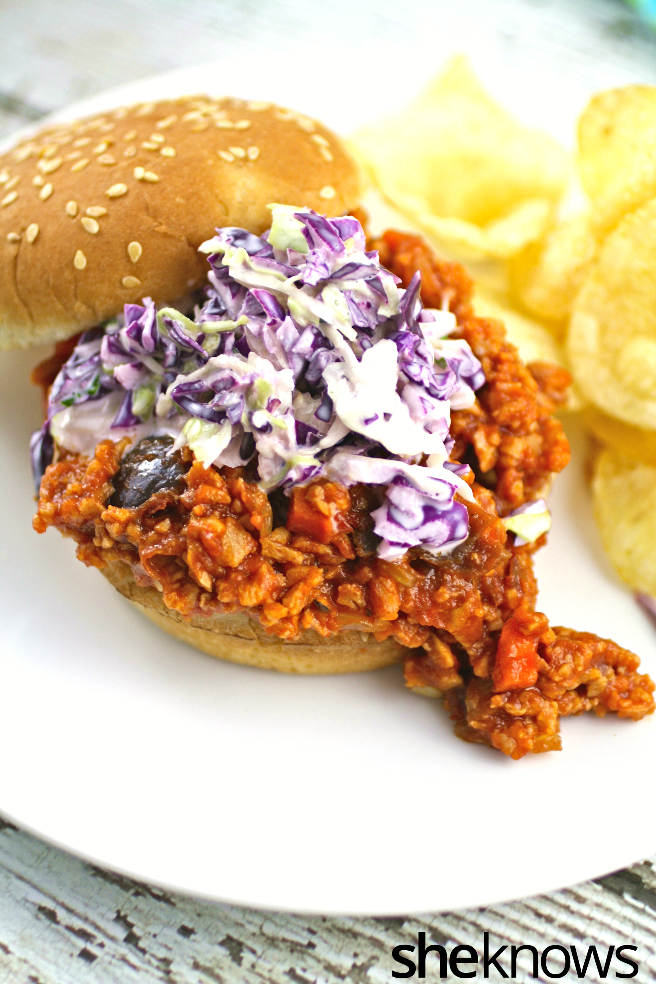Open-meatless-spicy-chipotle-sloppy-Joes
