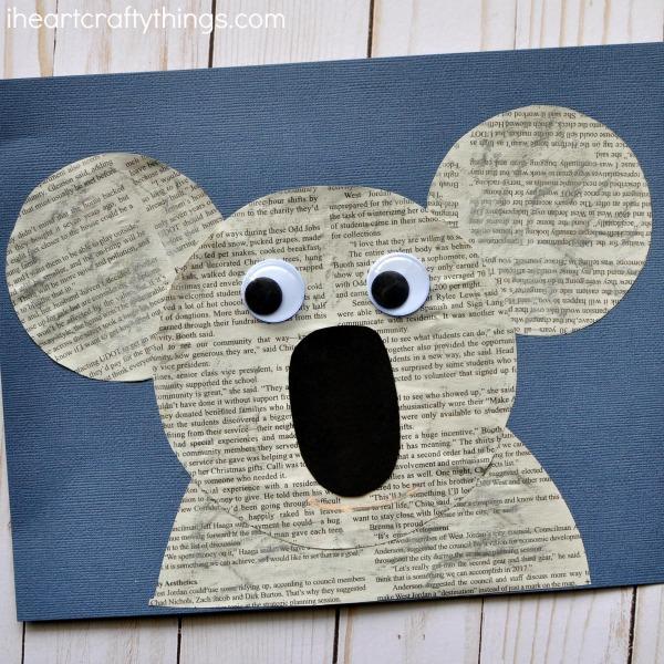 Newspaper koala craft