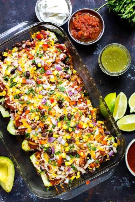 Fully-loaded enchilada zucchini skins
